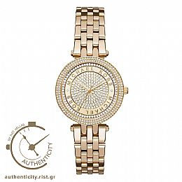 Mini Darci Gold-Tone Crystal Pave Dial Stainless Steel Watch